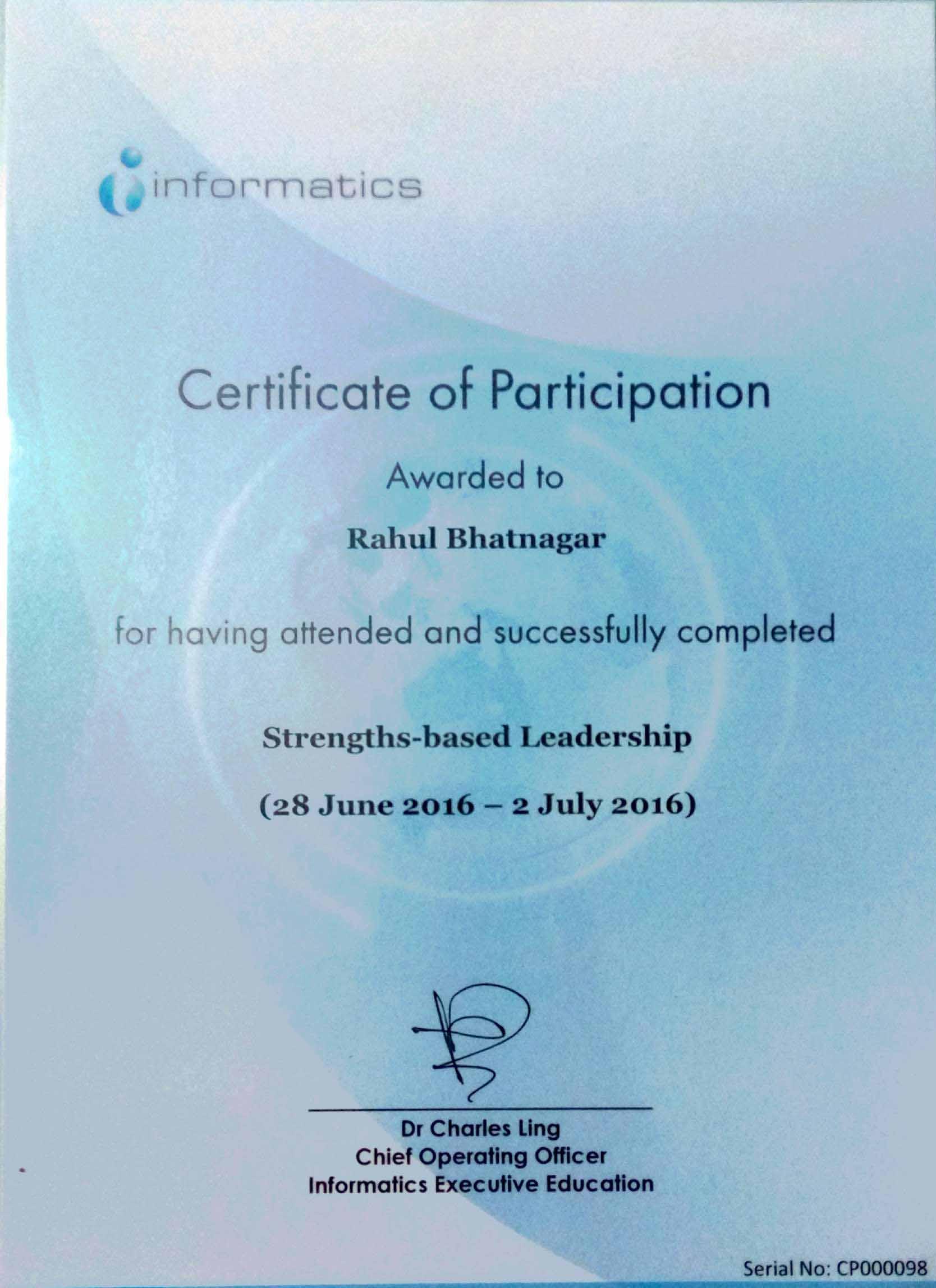 Leadership Certification At Informatics Rahul Bhatnagar